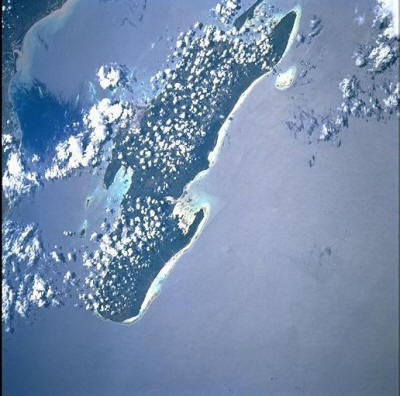 Unguja Island showing the east coast